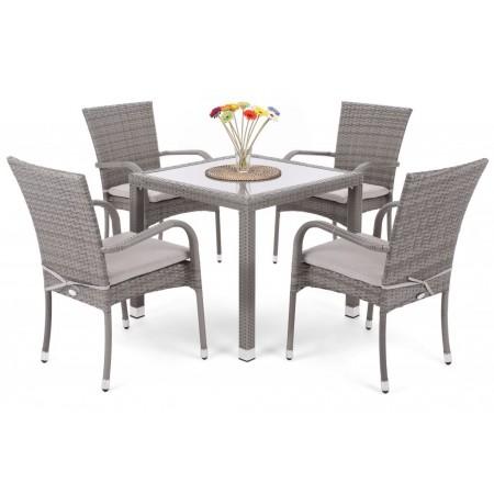 Elegantní souprava nábytku z umělého ratanu na zahradu / terasu, šedá, pro 4 osoby