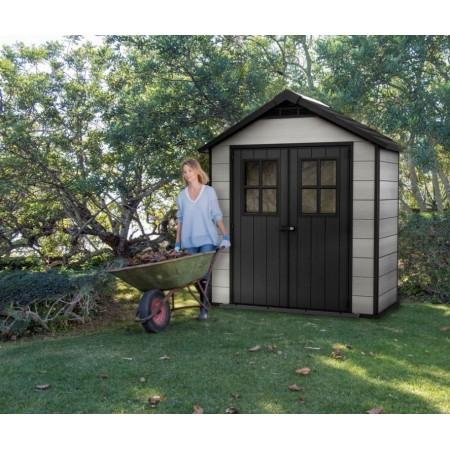 Moderní bezúdržbový domek na zahradu plastový, šedá / antracit, 210x125x253 cm
