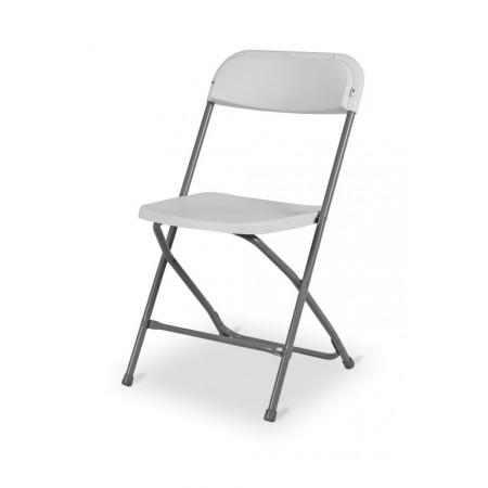 Cateringová skládací židle pro pořádání akcí, kov + pevný plast, bílá