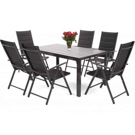 Luxusní zahradní nábytek pro 6 osob, hliník / kompozit / umělá textile, černý