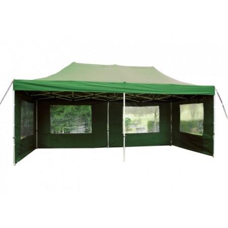 Nůžkový zahradní stan zelený, 3 x 6 m, výška 3,3 m