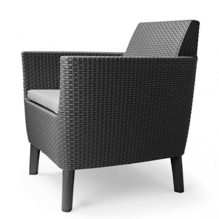 Křeslo do setu zahradního nábytku, umělý ratan, grafit + šedý polstr