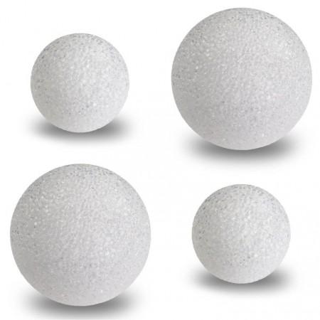 4x svítící koule na baterie, bílá + barevné osvětlení, 2x průměr 12cm, 2x průměr 8 cm