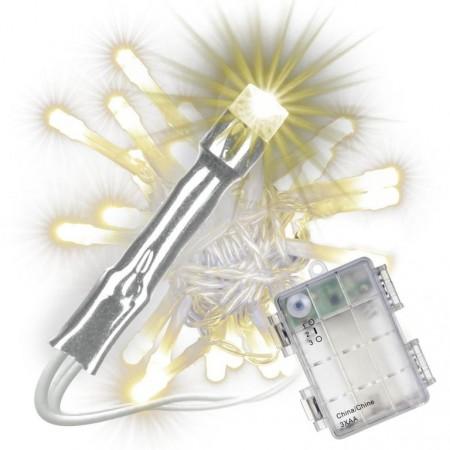 Sada světelných řetězů s časovačem - 20 LED, teplá bílá