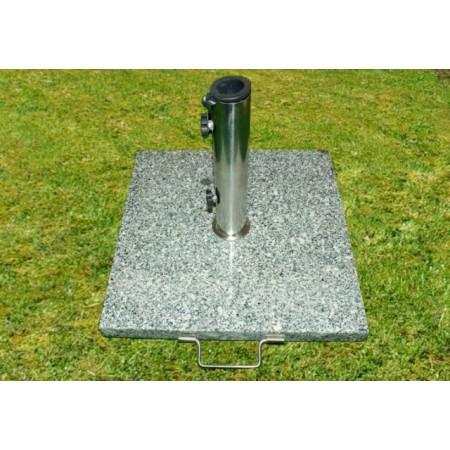 Čtvercový stojan pro slunečníky do 3 m, žula + nerez