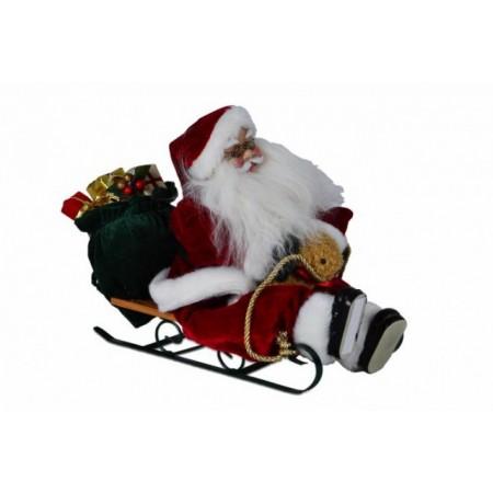 Santa Claus na saních - zpívá a tleská rukama