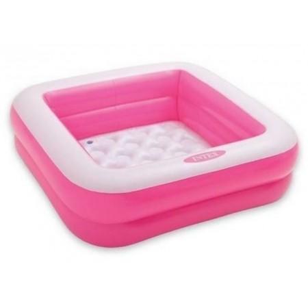 Nafukovací bazének pro děti čtvercový, růžová / bílá, 85x85x23 cm