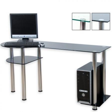 Kancelářský stůl pod PC se skleněnou deskou (černé sklo)