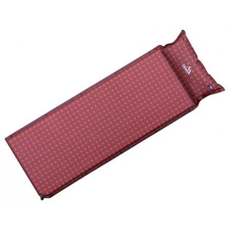 Samonafukovací karimatka s polštářem, pěnové jádro, červená, 190x60x3,8 cm
