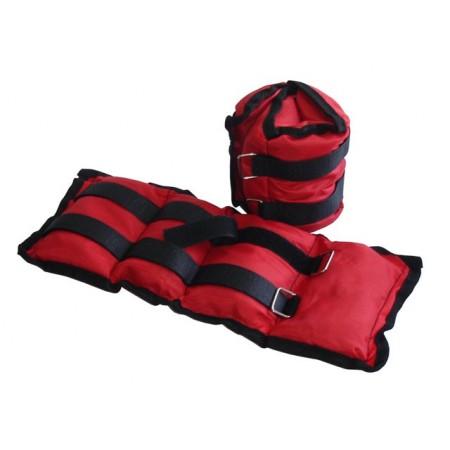 Zátěže s pískem na kotníky 2 x 2 kg, červené