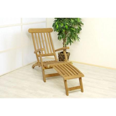 Dřevěné zahradní lehátko z teakového dřeva - nastavitelné opěradlo