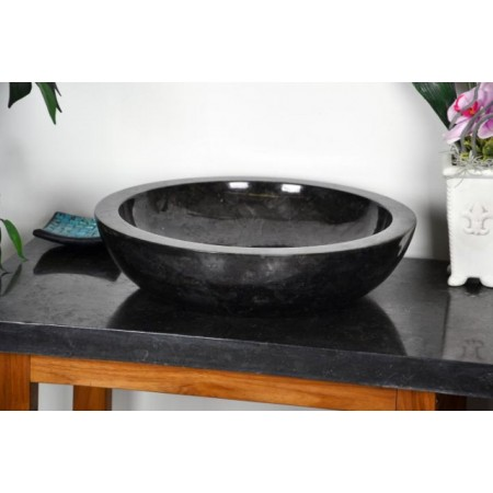 Kruhové kamenné umyvadlo, černý leštěný mramor