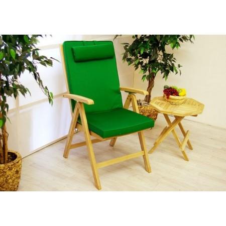 Silné polstrování na zahradní židli, snímatelný potah, tmavě zelené