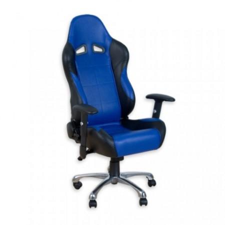 Kancelářské křeslo na kolečkách, sportovní vzhled, černá / modrá
