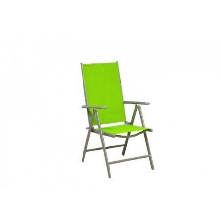 Zahradní židle kovová s textilní výplní - zelená