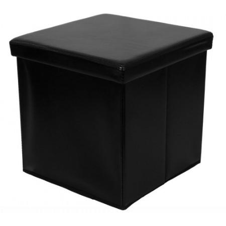 Skládací taburet černý, umělá kůže, 38 x 38 x 38 cm
