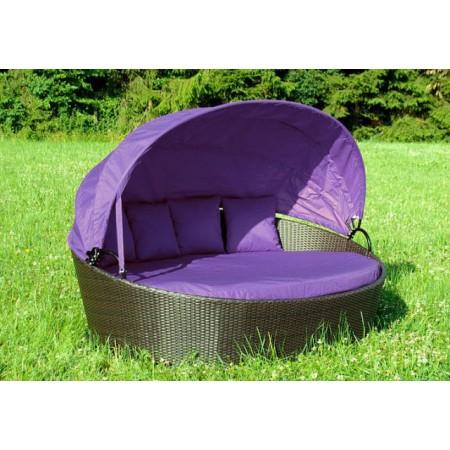 Velké luxusní zahradní lehátko s polstry - fialové