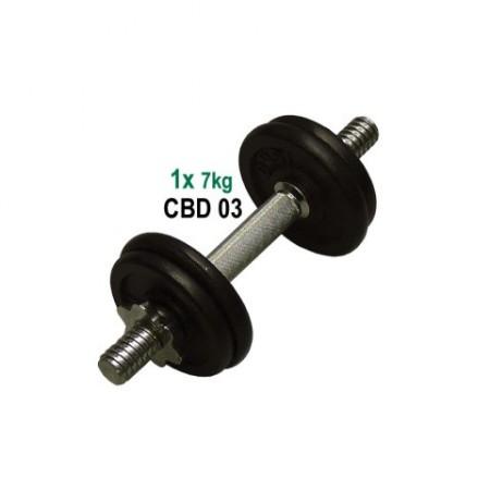Jednoruční činka s kovovými kotouči 7 kg