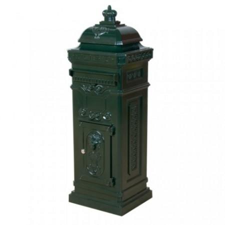 Dekorativní potovní schránka v antickém stylu, hliník, zelená