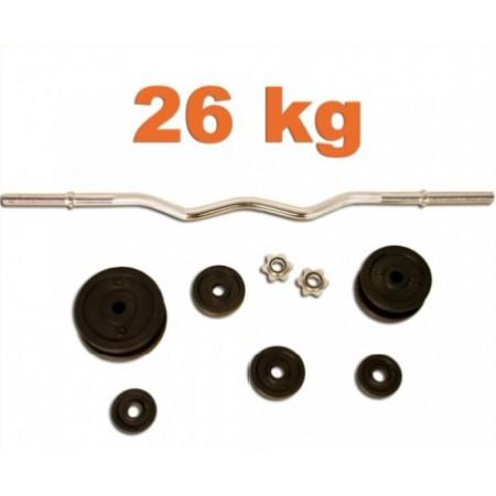 Profi obouruční činka včetně závaží 120 cm, 26 kg