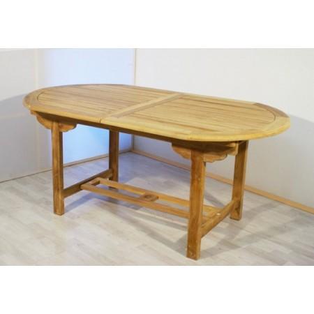 Oválný rozložitelný zahradní stůl s tvrdého týkového dřeva