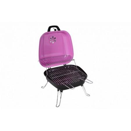 Přenosný kufříkový mini gril, růžový