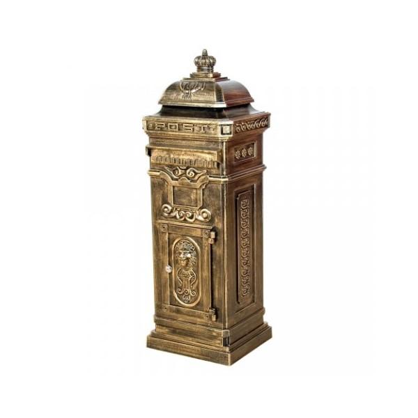 Dekorativní poštovní schránka, barva starožitný mosaz, 102,5 cm