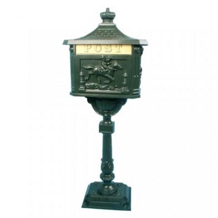 Hliníková ozdobná poštovní schránka se stojanem, 111 cm