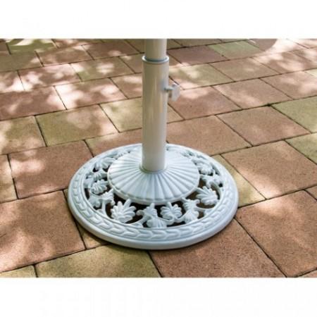 Okrasný litinový stojan pro slunečníky do 3 m, bílý, 16 kg