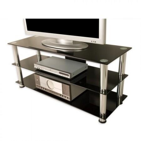Elegantní TV stolek se skleněnými policemi 110 x 50 x 40 cm