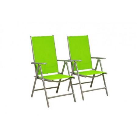 2 hliníkové skládací židle, nastavitelné opěradlo, zelená