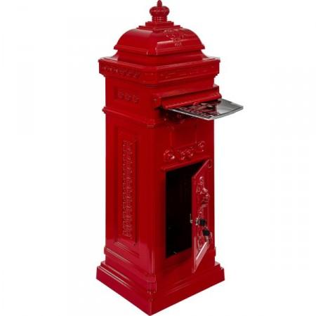 Starožitná poštovní schránka se 2 přihrádkami, červená