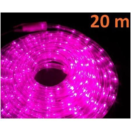 Venkovní LED světelný kabel růžový, 20 m