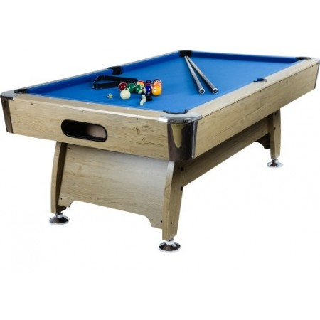 Kulečníkový stůl billiard 8 ft, dřevodekor, modrý potah, 244 x132x82 cm