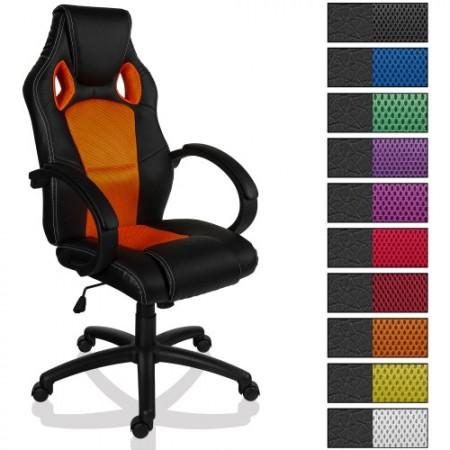 Luxusní kancelářská židle ve sportovním designu, oranžová / černá