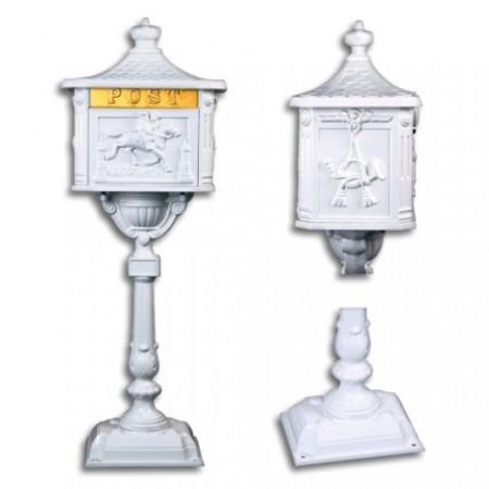 Dekorativní poštovní schránka na stojanu, litý hliník, bílá