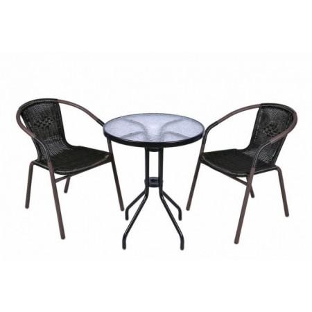 Balkonový set- kulatý stůl + 2 židle z umělého ratanu