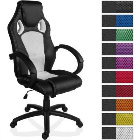Kancelářská židle na kolečkách, sportovní design, bílá / černá