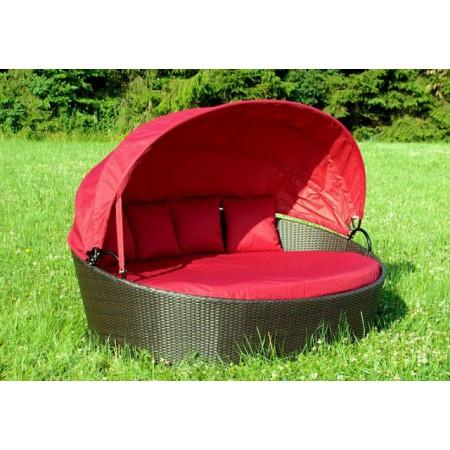 Luxusní zahradní lehátko, umělý ratan, červené