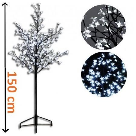 Svítící strom s květy, 200 LED diod, studeně bílá