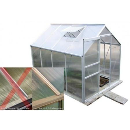 Velký zahradní skleník, automatický otevírač okna, polykarbonátové prosklení