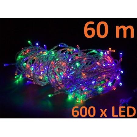 Vánoční LED světelný řetěz, 600 diod, barevný, 60 m