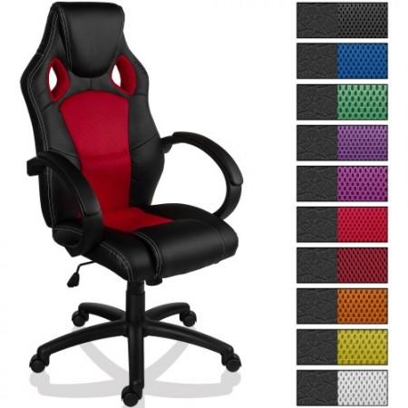 Luxusní kancelářská židle na kolečkách, sportovní design, červená / černá