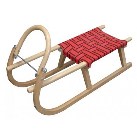 Celodřevěné sáně s textilním sedákem 95 cm