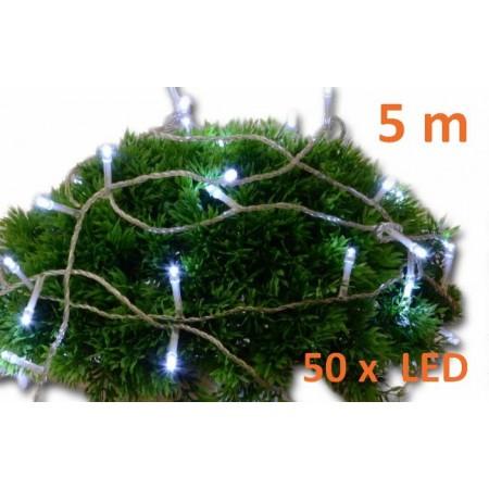 Vánoční svítící řetěz vnitřní / venkovní, studeně bílá, 50 diod