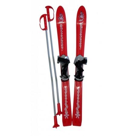 Dětské plastové lyže s vázáním a hůlkami 90 cm