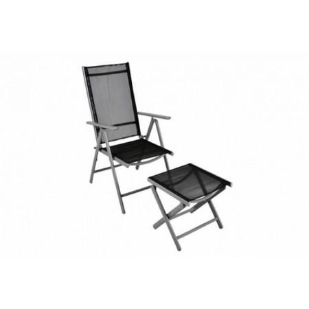 Lehká hliníková zahradní židle s podložkou pod nohy