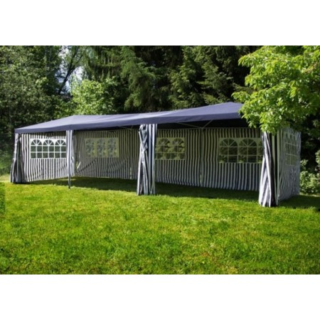 Zahradní párty stan s bočními plachtami, 3x9 m, zelenobílý