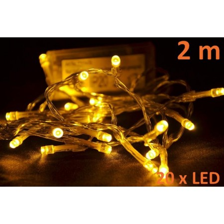 Interiérové vánoční LED osvětlení na baterie, teple bílé, 20 diod