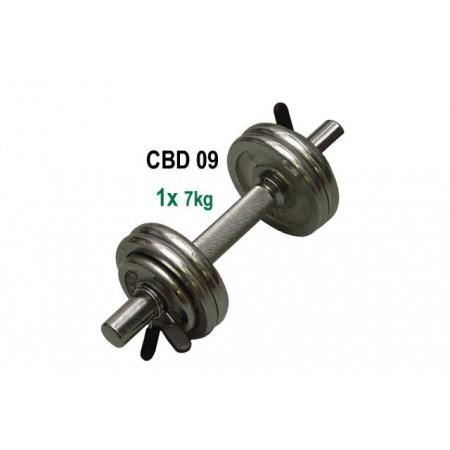 Jednoruční činka s chromovanými kotouči 7 kg, tyč 25 / 30 mm